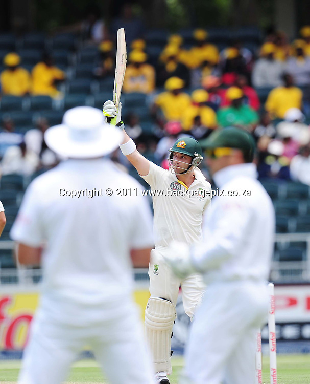 Phil Hughes of Australia celebrates his 50 <br /> &copy; Barry Aldworth/Backpagepix