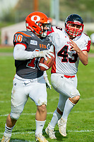 KELOWNA, BC - OCTOBER 6: Linebacker Zach Taylor #43 of the VI Raiders runs after Conor Richard #10 of Okanagan Sun at the Apple Bowl on October 6, 2019 in Kelowna, Canada. (Photo by Marissa Baecker/Shoot the Breeze)