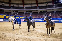 MERSCHFORMANN Max (GER), Crescendo 47, MERSCHFORMANN Carlotta (GER), Black Pearl SH NRW, MERSCHFORMANN Malte (GER), Moorlands Carthago<br /> Siegerehrung<br /> VILSA Mineralbrunnen präsentiert das Finale des Westfalenhalle-Cup Dortmund<br /> Nationale Stilspringprüfung Kl. A**ür<br /> Dortmund - Signal Iduna Cup 2020<br /> 13.03.20<br /> © www.sportfotos-lafrentz.de/Stefan Lafrentz