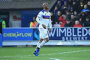 GOAL Calvin Andrew celebrates scoring 0-1 during the EFL Sky Bet League 1 match between AFC Wimbledon and Rochdale at the Cherry Red Records Stadium, Kingston, England on 8 December 2018.