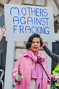 "Bianca Jagger (pictured in pink), Chair of the Bianca Jagger Human Rights Foundation, joined mothers and children at a Mothers Against Fracking rally on Mother's Day.  In a statement, Bianca Jagger said: ""As a mother, a grandmother and soon to be a great grandmother, I am deeply concerned about the impact fracking will have on our way of life. Our environment, our water sources, the air and the land are precious resources which we must conserve if we are to leave a habitable world to future generations. Prime Minister Cameron, I urge you to stop endorsing this hazardous technology. It will be a betrayal of our children, our grandchildren and great grandchildren."" (On Monday 31st March at 3pm, Mothers Against Fracking will form the 17th group  to hand deliver a letter of protest to David Cameron at 10 Downing Street as part of the Walk the Walk campaign). Old Palace Yard near the House of Lords in Westminster, London, UK, 30th March 2014. Guy Bell, 07771 786236, guy@gbphotos.com"