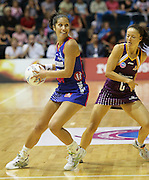 Angelina Yates positions herself ahead of Katie Walker during round 4 of the ANZ Netball Championship - Queensland Firebirds v Northern Mystics. Played at Brisbane Convention Centre. Firebirds (46) defeated the Mystics (40).  Photo: Warren Keir (SMP/Photosport).<br /> <br /> Use information: This image is intended for Editorial use only (e.g. news or commentary, print or electronic). Any commercial or promotional use requires additional clearance.