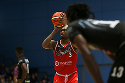 Fred Thomas of Bristol Flyers takes a free throw - Photo mandatory by-line: Arron Gent/JMP - 07/12/2019 - BASKETBALL - Surrey Sports Park - Guildford, England - Surrey Scorchers v Bristol Flyers - British Basketball League Championship