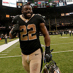 Dec 17, 2017; New Orleans, LA, USA; New Orleans Saints running back Mark Ingram (22) celebrates after a win against the New York Jets at the Mercedes-Benz Superdome. The Saints defeated the Jets 31-19. Mandatory Credit: Derick E. Hingle-USA TODAY Sports