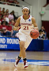 March 20, 2010; Stanford, CA, USA; Stanford Cardinal guard Rosalyn Gold-Onwude (21) during the first half against the UC Riverside Highlanders in the first round of the 2010 NCAA womens basketball tournament at Maples Pavilion. Stanford defeated UC Riverside 79-47.