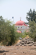 Israel, Galilee, Capernaum, the Greek Orthodox Church as seen from south from the Sea of Galilee
