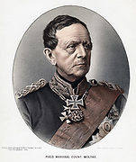 Helmut Karl Bernard, Count von Moltke (1800-1891) Prussian/German general and statesmasn. Tinted lithograph published c1880