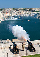 The noon cannon being fired from the Saluting Battery in Valletta, the capital of Malta.