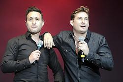 © Licensed to London News Pictures. 16/07/2015<br /> Rochester Castle Concerts,Rochester,Kent<br /> blue singing.<br /> Antony Costa, Lee Ryan<br /> (Byline:Grant Falvey/LNP)