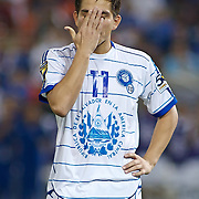 EL Salvador Attacker Rodolfo Zelaya #11 covers his face as EL Salvador loses to panama during the penalty kick segment of the concacaf gold cup quarterfinals Sunday, June 19, 2011, at RFK Stadium in Washington DC.