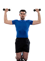 man weight training Worrkout Posture exercising on white background with weights