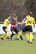 Fliss Gibbins weaves her way through Watford Ladies during the Women's FA Cup match between Watford Ladies FC and Brighton Ladies at the Broadwater Stadium, Berkhampstead, United Kingdom on 1 February 2015. Photo by Stuart Butcher.