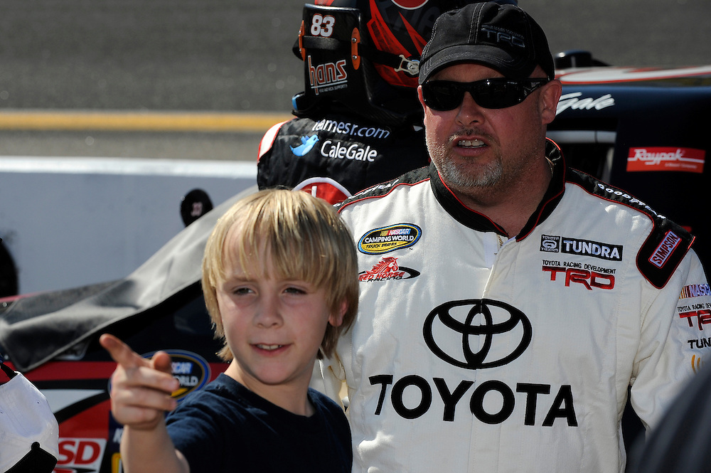 14-15 April, 2012, Rockingham, North Carolina USA.Todd Bodine and young fan.(c)2012, Scott R LePage.LAT Photo USA
