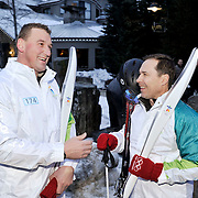 Gold medal winning Olympic athlete Matthew Pinsent chats with fellow torch bearer and fellow Olympian Steve Podborski before his Olympic torch run.  February 5th, 2010.  Whistler BC, Canada..David Buzzard/From the Canadian Press