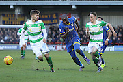 Tom Elliott of AFC Wimbledon presses for possession  during the Sky Bet League 2 match between AFC Wimbledon and Yeovil Town at the Cherry Red Records Stadium, Kingston, England on 30 January 2016. Photo by Stuart Butcher.