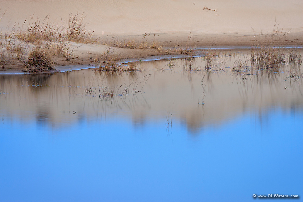 A rainwater puddle at the base of  a Jockey's Ridge sand dune photograph at twilight.