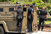 Charleston, United States. 31 May, 2020. Charleston Police use an armor vehicle to chase protesters out of the cities historic White Point Garden following a demonstration over the death of George Floyd May 31, 2020 in Charleston, South Carolina. Floyd was choked to death by police in Minneapolis resulting in protests sweeping across the nation.  Credit: Richard Ellis/Alamy Live News