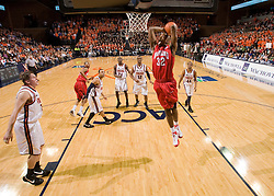 Maryland forward Jerome Burney (32) goes up for a dunk against UVA.  The Virginia Cavaliers defeated the Maryland Terrapins 91-76 at the University of Virginia's John Paul Jones Arena  in Charlottesville, VA on March 9, 2008.