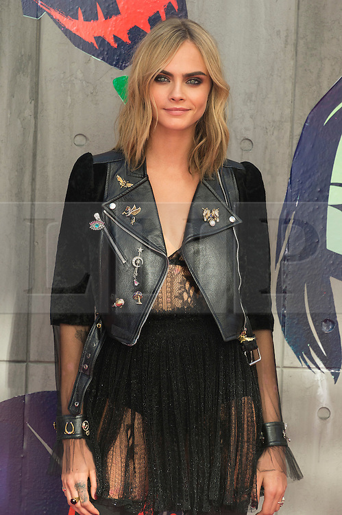 © Licensed to London News Pictures. 03/08/2016. CARA DELEVIGNE attends the Suicide Squad UK Film Premiere  London, UK. Photo credit: Ray Tang/LNP