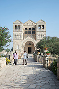 Exterior of the Franciscan church of the Transfiguration, mount Tabor, Jezreel Valley, Galilee, Israel (architect Antonio Barluzzi 1924)