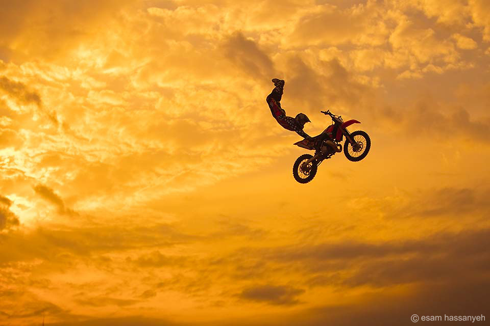 A biker perform air tricks at the Red Bull Extreme event in Dubai