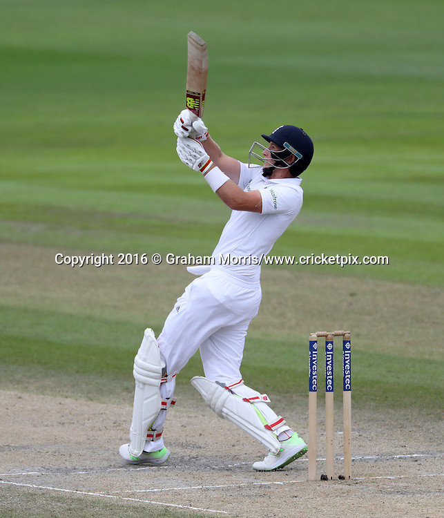 Joe Root bats during the second Investec Test Match between England and Pakistan at Old Trafford, Manchester. Photo: Graham Morris/www.cricketpix.com 25/7/16