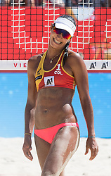 29.07.2017, Donauinsel, Wien, AUT, FIVB Beach Volleyball WM, Wien 2017, Damen, Gruppe B, im Bild Andrea Galindo (COL) // Andrea Galindo of Colombia during the Women's group B match of 2017 FIVB Beach Volleyball World Championships at the Donauinsel in Wien, Austria on 2017/07/29. EXPA Pictures © 2017, PhotoCredit: EXPA/ Sebastian Pucher