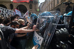 May 1, 2019 - Turin, Piedmont, Italy - Workers demonstration in the May Day procession and Clashes against the police and autonomous on May Day in Turin, Italy. (Credit Image: © Stefano Guidi/ZUMA Wire)