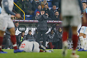Liverpool manager Jurgen Klopp holds his head in his hands after Liverpool midfielder Naby Keïta is fouled by Burnley's Matěj Vydra during the Premier League match between Burnley and Liverpool at Turf Moor, Burnley, England on 5 December 2018.
