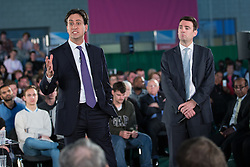 © Licensed to London News Pictures . 12/05/2014 . Manchester , UK . The leader of the Labour Party , ED MILIBAND , and Andy Burnham (Shadow Secretary of State for Health and MP for Leith) during a Q&A following a speech on health at the National Squash Centre in Manchester today (Monday 12th May 2014) . Photo credit : Joel Goodman/LNP