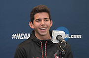 Grant Fisher of Stanford reacts during a press conference prior to the NCAA cross country championships at the Sawyer Hayes Community Center in Louisville, Ky. on Friday, Nov. 17, 2017.