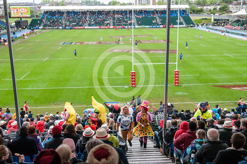 View from the party stand at the IRB Emirates Airline Glasgow 7s at Scotstoun in Glasgow. 4 May 2014. (c) Paul J Roberts / Sportpix.org.uk