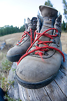 Still life of hiking  boots. Lake Tahoe, CA