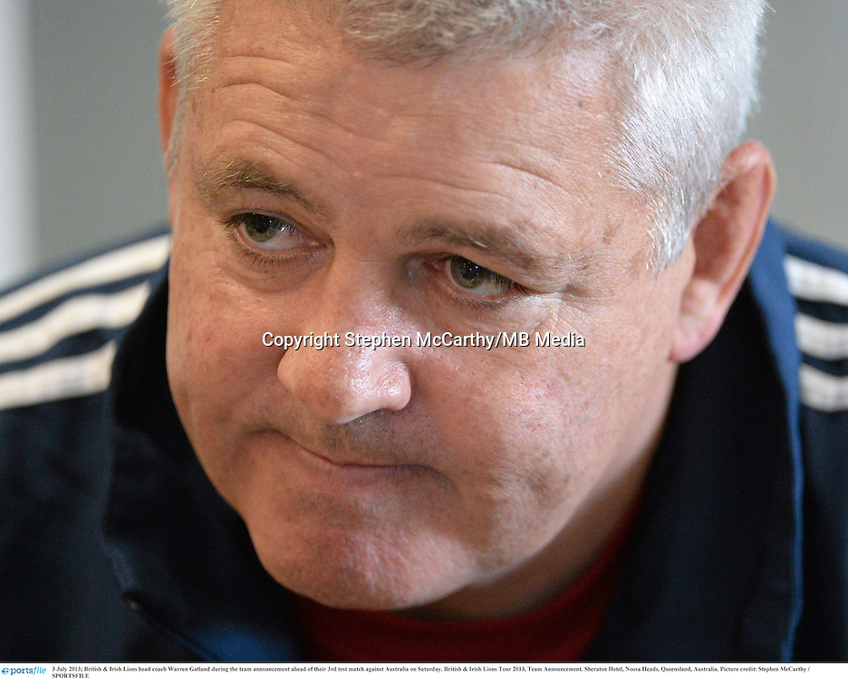 3 July 2013; British & Irish Lions head coach Warren Gatland during the team announcement ahead of their 3rd test match against Australia on Saturday. British & Irish Lions Tour 2013, Team Announcement. Sheraton Hotel, Noosa Heads, Queensland, Australia. Picture credit: Stephen McCarthy / SPORTSFILE