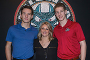 KELOWNA, CANADA - JANUARY 21:  Annette Welke with Jack Cowell and Conner Bruggen-Cate Kelowna Rockets at the Kelowna Rockets Billet Dinner on January 21, 2018 at Prospera Place in Kelowna, British Columbia, Canada.  (Photo By Cindy Rogers/Nyasa Photography,  *** Local Caption ***