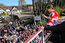 Lizzy Yarnold during the victory bus tour through Sevenoaks, Kent. PRESS ASSOCIATION Photo. Picture date: Wednesday April 18, 2018. Yarnold became the first Briton - and the first skeleton athlete - to win successive Winter Games gold medals. Photo credit should read: Gareth Fuller/PA Wire