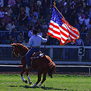 American Quarterhorse calendar 2011, september, Cowboys, flag, Pendleton Oregon, Pendleton Roundup, Rodeo is America, ty campbell