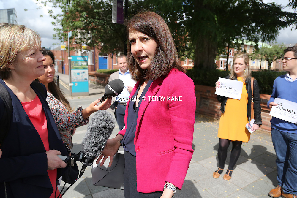 WARRINGTON, UK:<br /> Liz Kendal MP arrives for the final Labour Leadership Hustings at the Pyramid Parr Hall on Saturday morning, 25th July 2015.<br /> PHOTOGRAPH BY TERRY KANE / BARCROFT MEDIA LTD<br /> <br /> UK Office, London.<br /> T: +44 845 370 2233<br /> E: pictures@barcroftmedia.com<br /> W: www.barcroftmedia.com<br /> <br /> Australasian &amp; Pacific Rim Office, Melbourne.<br /> E: info@barcroftpacific.com<br /> T: +613 9510 3188 or +613 9510 0688<br /> W: www.barcroftpacific.com<br /> <br /> Indian Office, Delhi.<br /> T: +91 997 1133 889<br /> W: www.barcroftindia.com