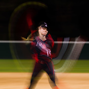 02 March 2018: San Diego State softball closes out day two of the San Diego Classic I at Aztec Softball Stadium with a night cap against CSU Northridge. San Diego State relief pitcher Alex Formby (19) enters the game in the top or the third with a runner on second base. The Aztecs dropped a close game 2-0 to the Matadors. <br /> More game action at sdsuaztecphotos.com