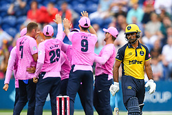 Fakhar Zaman of Glamorgan leaves the field after being dismissed<br /> <br /> Photographer Craig Thomas/Replay Images<br /> <br /> Vitality Blast T20 - Round 4 - Glamorgan v Middlesex - Friday 26th July 2019 - Sophia Gardens - Cardiff<br /> <br /> World Copyright © Replay Images . All rights reserved. info@replayimages.co.uk - http://replayimages.co.uk