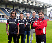 Dundee new boys Dundee&rsquo;s Yordi Teijsse, Danny Williams,  James Vincent and Mark O&rsquo;Hara pictured with manager Paul Hartley  -  Dundee FC pre-season training at Dundee University Grounds, Riverside<br /> <br />  - &copy; David Young - www.davidyoungphoto.co.uk - email: davidyoungphoto@gmail.com