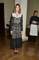 ALEXA CHUNG at a party to kick off London Fashion Week hosted by US Ambassador Matthew Barzun and Mrs Brooke Brown Barzun with Alexandra Shulman in association with J.Crew hrld at Winfield House, Regent's Park, London on 18th September 2015.