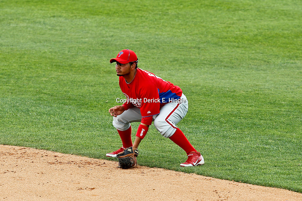 March 20, 2012; Sarasota, FL, USA; Philadelphia Phillies second baseman Freddy Galvis (13) against the Baltimore Orioles during a spring training game at Ed Smith Stadium.  Mandatory Credit: Derick E. Hingle-US PRESSWIRE