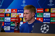 Manchester City midfielder Kevin de Bruyne during the Manchester City press conference ahead of the Champions League match against FC Schalke 04, at Philharmonic Theatre, Essen, Germany on 19 February 2019.