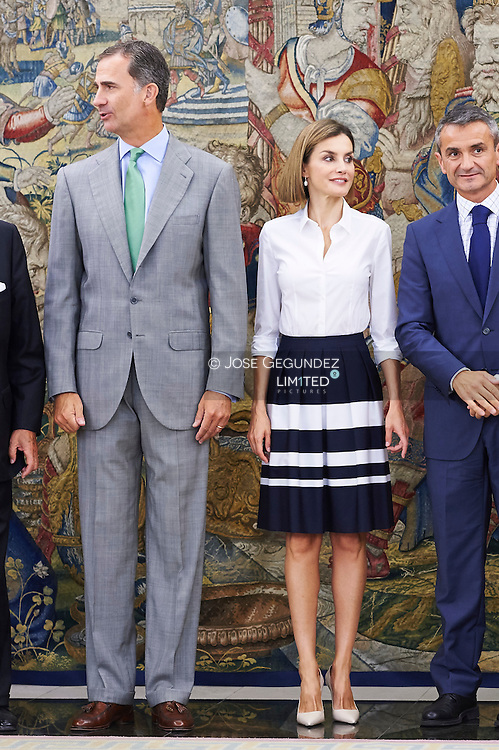 King Felipe VI of Spain and Queen Letizia of Spain attend an audience to Adecco Foundation Board at Palacio de la Zarzuela on September 2, 2015 in Madrid