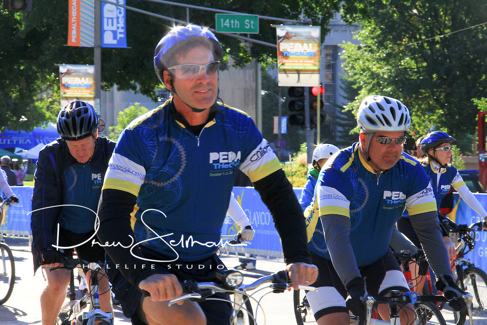OCT 03, 2011 (ST LOUIS) -- Riders starting the 15 and 25 mile course at the 2011 Pedal the Cause event in downtown St. Louis. The ride had 1,300 riders and has raised over $1.25 million in donations to funder cancer research at Washington University, Barnes Jewish Medical Center and the St Louis Children's Hospital. All proceeds raised during the ride stay in St Louis.