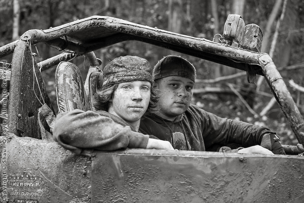 Two young gentlemen in their Strip Mine Buggy, near Treverton, PA