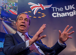 © Licensed to London News Pictures. 29/03/2018. London, UK. Former UKIP Leader Nigel Farage speaks at 'The UK in a Changing Europe' conference in London on the first anniversary of the triggering of Article 50. Photo credit: Rob Pinney/LNP