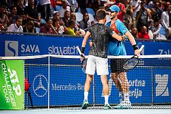 Aljaz Bedene of Slovenia and Blaz Rola of Slovenia after semifinal match at Day 9 of ATP Challenger Zavarovalnica Sava Slovenia Open 2019, on August 17, 2019 in Sports centre, Portoroz/Portorose, Slovenia. Photo by Matic Klansek Velej / Sportida