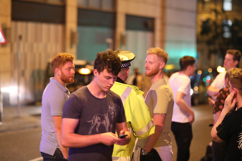 MANCHESTER 19.09.2017:  England Cricket vice Captin Ben Stokes and Jonny Bairstow  seen leaving a Night club at 3am.<br /> <br /> where students were celebrating there first week as freshers at Manchester universities. Stokes and Bairstow was with a friend<br /> <br /> NOTES To DESK:<br /> <br /> Ben pulled me to one side and said he was happy for the picture to be published but he did not want the lad in white shirt to have his picture in  the paper he said &quot; I am taking him away from some  very bad things and  trying to change his life around&quot; he then said  No one knows what I am  doing &quot;<br /> <br /> The lad he was talking about then called me a prick.<br /> <br /> In my opinion they were all drunk